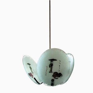 Italian Ceiling Lamp with Japanese Motifs, 1960s