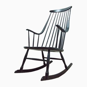 Mid-Century Swedish Grandessa Vintage Black Rocking Chair by Lena Larsson