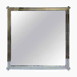 Chrome and Brass Square Mirror by Romeo Rega, 1970