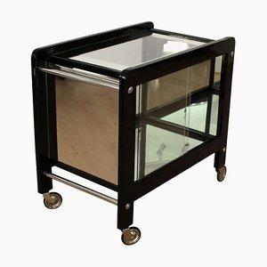 Tavolino Art Deco in vetro laccato nero, metallo cromato e vetro, anni '30