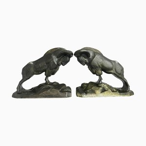 Art Deco Bronze Mountain Ram Bookends by C. Charles, 1930s, Set of 2