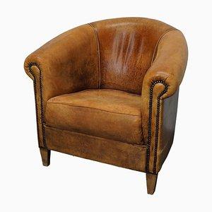 Vintage Dutch Cognac Colored Leather Club Chair