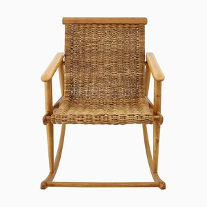 Rattan Rocking Chair from ULUV, Czechoslovakia, 1960s