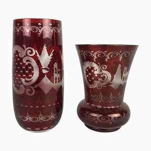 Egermann Ruby Red Glass Vases, Czechoslovakia, 1940s, Set of 2