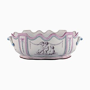 Antique Monteith Punch Bowl with Handles by Emile Gallé for St. Clement, Nancy