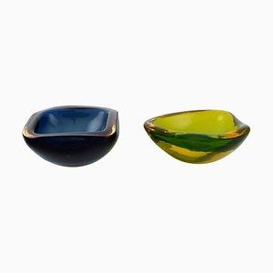 Scodelle in vetro di Murano blu e giallo verde, set di 2