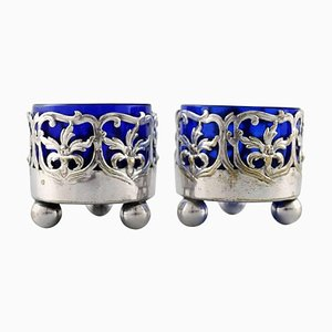 English Salt Cellars with Blue Glass Inserts, Set of 2