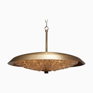 Brass and Glass Pendant Lamp by Carl Fagerlund for Orrefors, 1950s