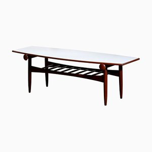 Teak Walnut Reversible Ellipse Surfboard Coffee Table, Italy, 1960s