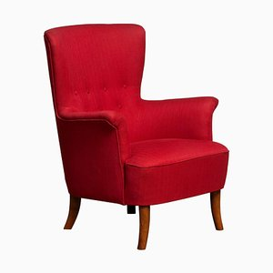 Fuchsia Red Club Chair by Carl Malmsten for OH Sjogren, Sweden, 1940s