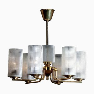 Brass and Glass Chandelier by Carl Fagerlund for Orrefors, Sweden, 1960s