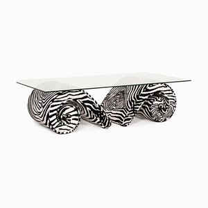 Glass and Velvet Coffee Table with Zebra Pattern from Bretz