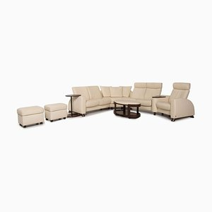 Arion Cream Leather Living Room Set from Stressless, Set of 5