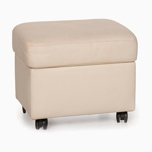 Cream Leather Ottoman from Stressless