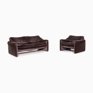 Maralunga Purple Aubergine Living Room Set from Cassina, Set of 2