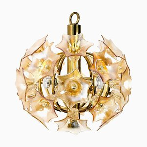 Flower Bulb Murano Glass and Brass Sputnik Ceiling Lamp by Simon & Schelle, 1970