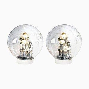Große mundgeblasene Bubble Glas Tischlampen von Doria, 1970er, 2er Set