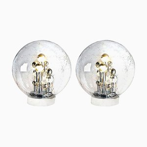 Large Hand Blown Bubble Glass Table Lamps from Doria, 1970s, Set of 2