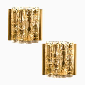 Wall Lights in Brass and Glass from Doria, 1960s, Set of 2