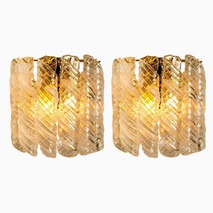 Brass White Spiral Murano Glass Torciglione Wall Lights, 1960s, Set of 2