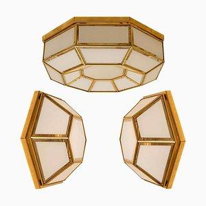 White Hexagonal Glass Brass Flush Mounts / Wall Lights by Limburg, Set of 3