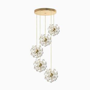 Große Kaskaden-Hängelampe mit Fünf Sputniks im Stil von Emil Stejnar
