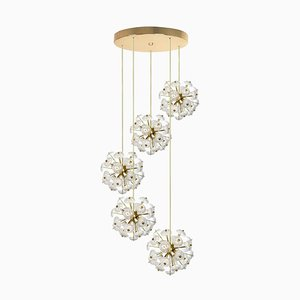 Large Cascade Light Fixture with Five Sputniks In the Style of Emil Stejnar