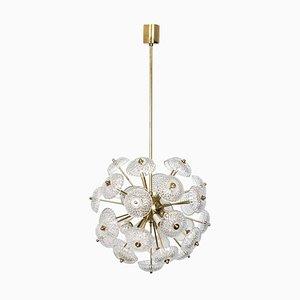 Große Deckenlampe aus Messing & Glas im Stil von Emil Stejnar