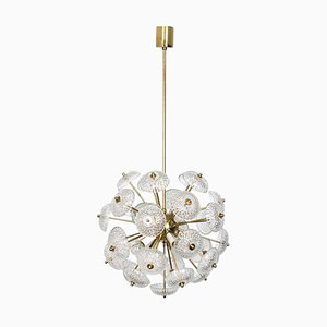 Large Brass and Glass Ceiling Lamp in the Style of Emil Stejnar