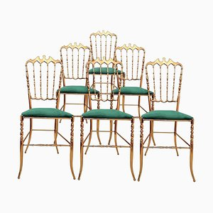 Italian Brass Chiavari Chair Upholstered in Emerald Green Velvet
