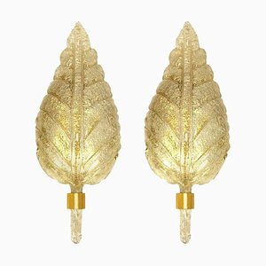 Large Gold Murano Glass Wall Sconces by Barovier & Toso, Italy, 1960s, Set of 2