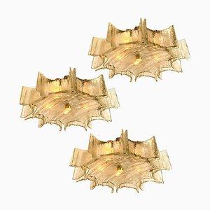 Große Einbau- Deckenlampe aus Sternglas, 1960er