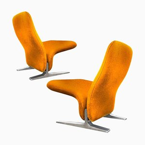 Dutch Lounge Chairs by Pierre Paulin for Artifort in New Kvadrat Upholstery, 1970s, Set of 2