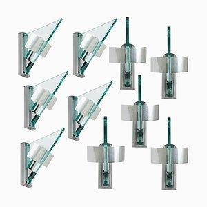 Glass Aluminium Triangle Shaped Wall Light from Artemide, 1984