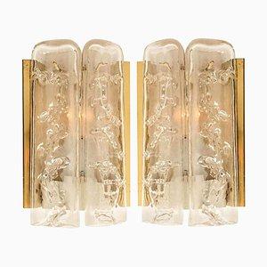 Strukturierte Eisglas & Messing Wandlampen von Doria, 1960, 2er Set
