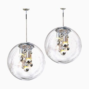 Large Hand Blown Bubble Glass Pendant Lights from Doria, 1970s, Set of 2