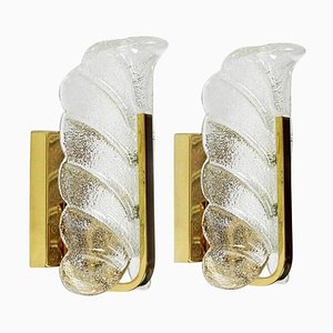 Brass Wall Sconces by Fagerlund for Orrefors, 1960, Set of 2