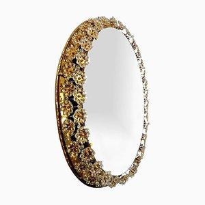Backlit Flower Mirror in Gilt Brass & Crystals, 1970