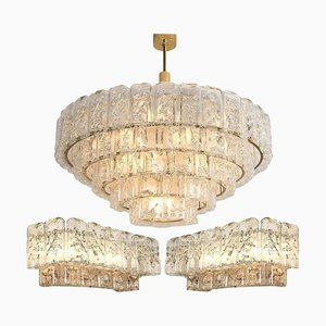Chandelier and Wall Sconces from Doria, 1960s, Set of 3