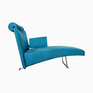 Blue Velvet Modern Chaise Lounge