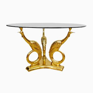 Mid-Century Brass Coffee Table with Golden Peacocks