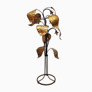 Mid-Century Italian Rhubarb Leaf Brass Floor Lamp