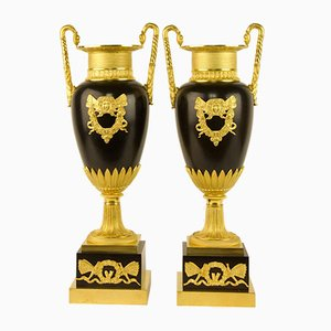 19th Century Empire Vases in Amphora, France, Set of 2