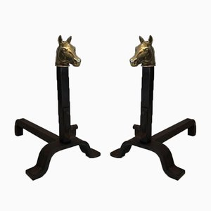 Fp-3034 Bronze and Wrought Iron Horse Head Andirons, 1940s, Set of 2