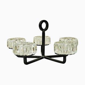 Kerzenhalter aus Kristallglas und Eisen von Willy Johansson, 1970er