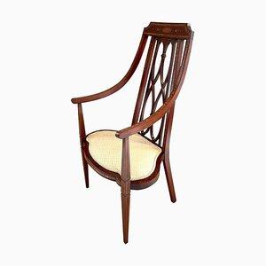 Antique Victorian Inlaid Mahogany Armchair, 19th Century