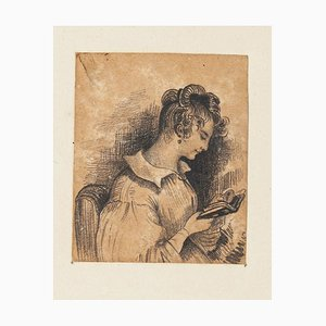 Adolphe-Félix Cals, Portrait of Woman, China Pencil on Paper, Late 19th Century