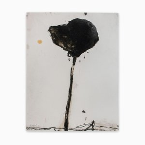 Baribeau, gambo nero # 4, 2018, carbone di legna e olio su carta