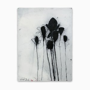 Baribeau, Multiple Stems In Black, 2019, Charcoal and Oil on Paper