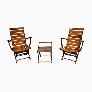 Wooden Folding Garden Chairs with Table, 1950s, Set of 3